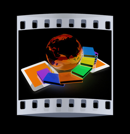 tablet pc and earth with colorful real books  on black background. The film strip