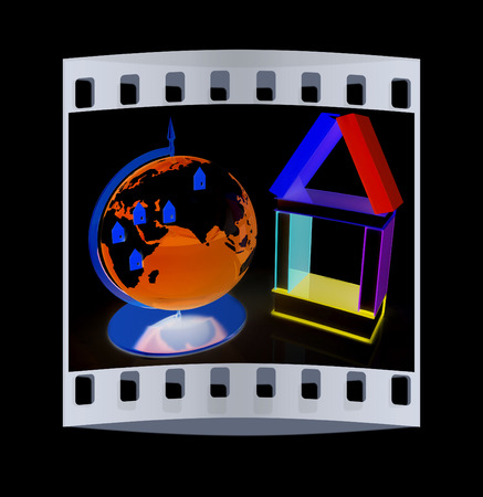 globally: Business concept. Globally. On a black background. The film strip Stock Photo