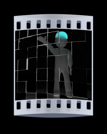 3d man: 3d man making choice, on black background. The film strip Stock Photo