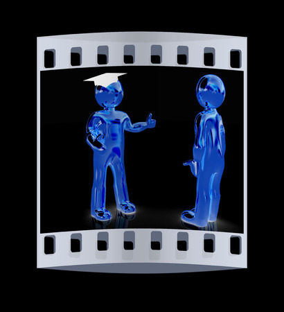 grad: Golden 3D mans in a grad hat and a man on a black background. The film strip