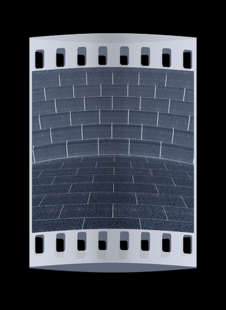 futuristic interior: Abstract futuristic interior. Brick scene and tribune. The film strip