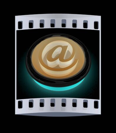 ed: Button email Internet push on a black background. The film strip