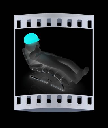 3d white man lying chair with thumb up on black background. The film strip
