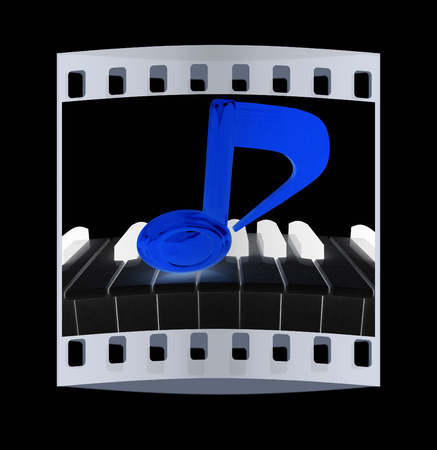minims: 3d note on a piano. On a black background. The film strip