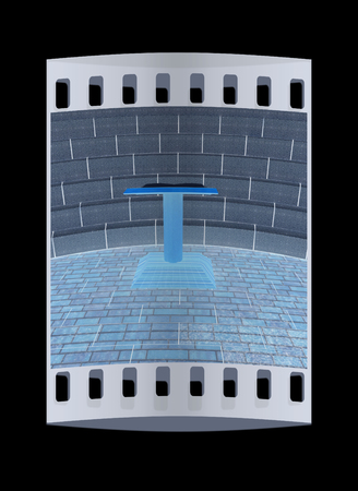 tribune: Abstract futuristic interior. Brick scene with cathedra and tribune. The film strip