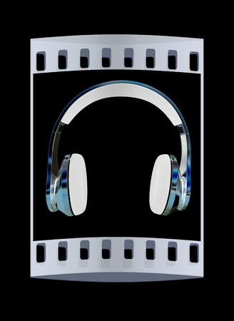 headset voice: Chrome headphones on a black background. The film strip
