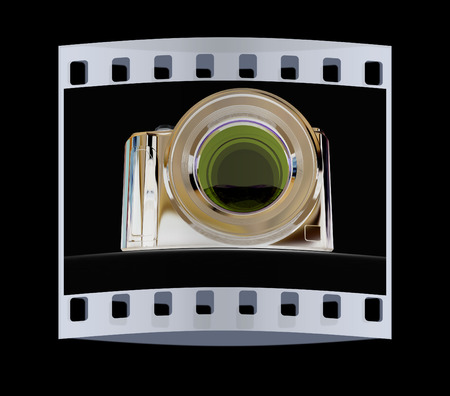 3d illustration of photographic camera on black background. The film strip