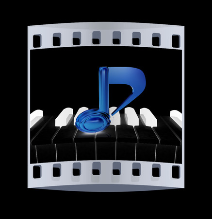 quavers: 3d note on a piano. The film strip Stock Photo