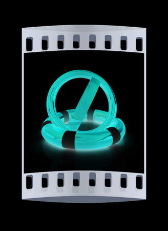 lifeline: sign a ban on lifeline on a black background. The film strip