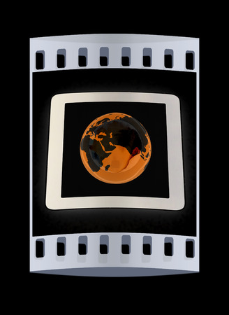 gprs: Phone and earch on black background.Global internet concept on a white background. The film strip