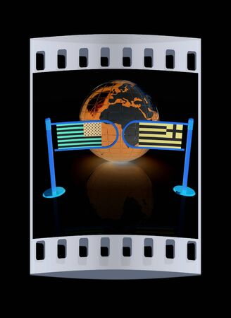 truce: Three-dimensional image of the turnstile and flags of USA and Greece on a black background. The film strip