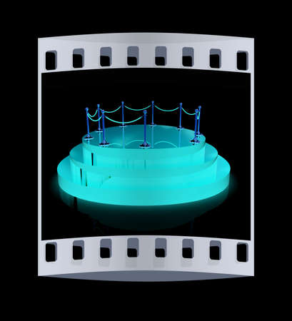 handrail: 3D glossy podium with gold handrail on a black background. The film strip