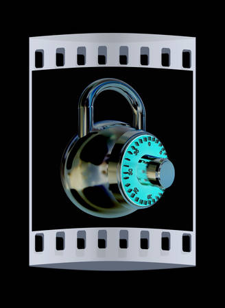 combination: Illustration of security concept with chrome locked combination pad lock on a black background. The film strip