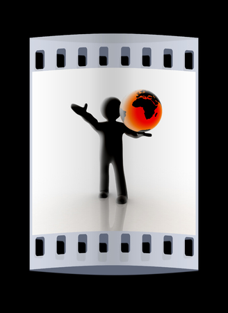 glowing earth: 3d man holding a glowing earth. The film strip