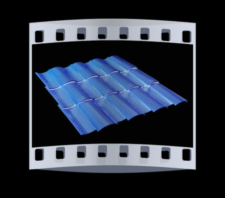 coate: Gold 3d roof tiles isolated on black background. The film strip