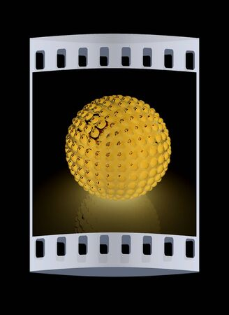 pimples: Abstract glossy sphere with pimples on a black background. The film strip Stock Photo