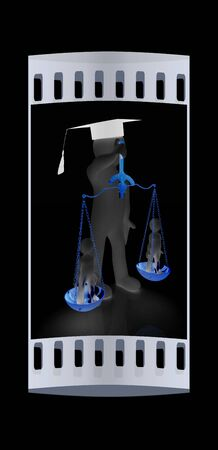 judiciary: 3d man - magistrate with gold scales. Isolated over black. The film strip Stock Photo