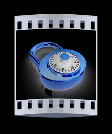 combination: Illustration of security concept with gold locked combination pad lock on a black background. The film strip Stock Photo