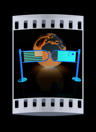 bilateral: Three-dimensional image of the turnstile and flags of USA and China on a black background. The film strip