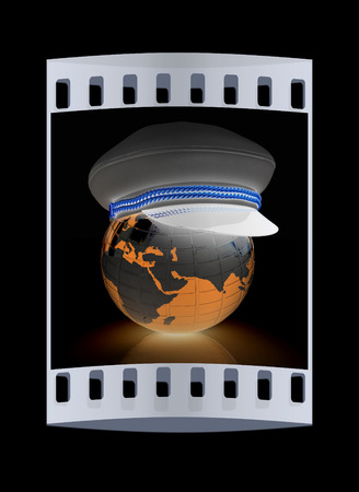 realist: Marine cap on Earth on a black background. The film strip
