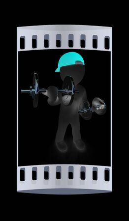chrome man: 3d man with metal dumbbells on a black background. The film strip