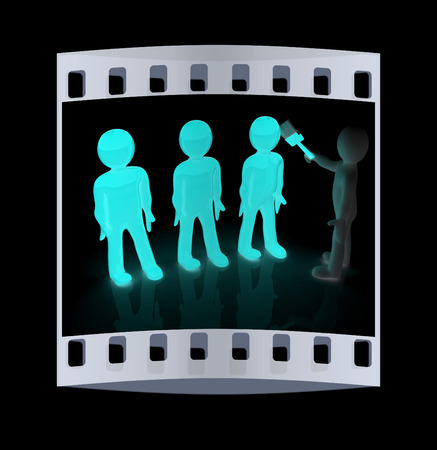 human character: 3d people - human character, person painting with paint. 3d render illustration. The film strip