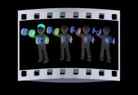 chrome man: 3d mans with colorfull dumbbells on a black background. The film strip Stock Photo