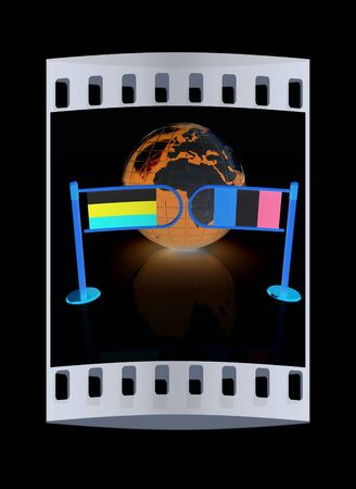 Three-dimensional image of the turnstile and flags of Ireland and Russia on a black background. The film strip Stock Photo