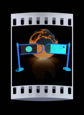 middle east conflict: Three-dimensional image of the turnstile and flags of China and Japan on a black background. The film strip