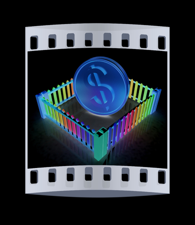 somebody: Dollar coin in closed colorfull fence concept illustration on a black background. The film strip