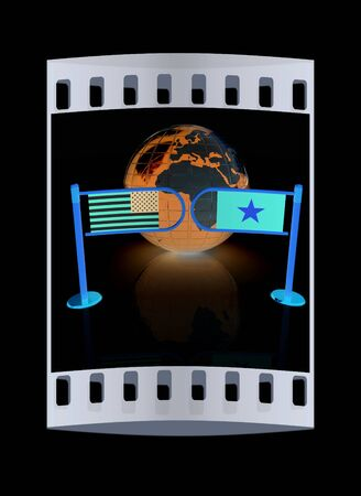 truce: Three-dimensional image of the turnstile and flags of USA and Vietnam on a black background. The film strip