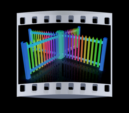 colorfull: Colorfull glossy fence on a black background. The film strip Stock Photo