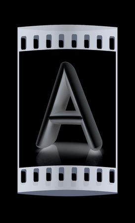 metall: 3D metall letter A isolated on black. The film strip