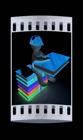 3d man in a hard hat with book sits on the colorful books on a black background. The film strip Stock Photo