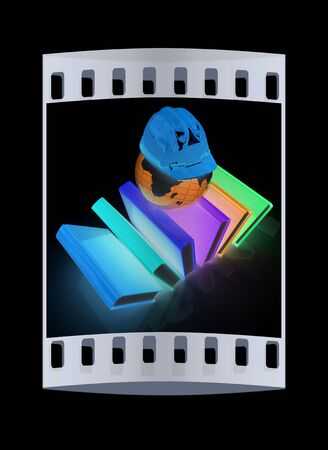 technical background: Global technical education on a black background. The film strip