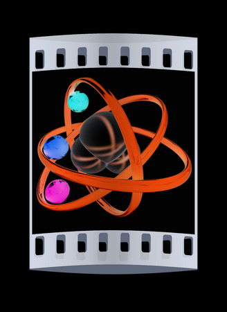 water molecule: 3d illustration of a water molecule isolated on black background. The film strip