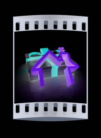 home owner: House icon and gift. The film strip
