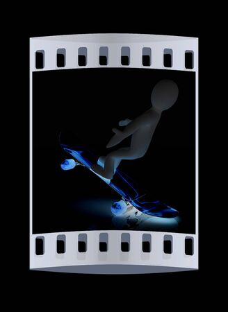 attitude boy: 3d white person with a skate and a cap. 3d image on a black background. The film strip