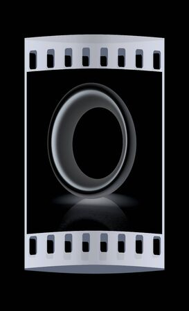 metall: 3D metall letter O isolated on black. The film strip Stock Photo