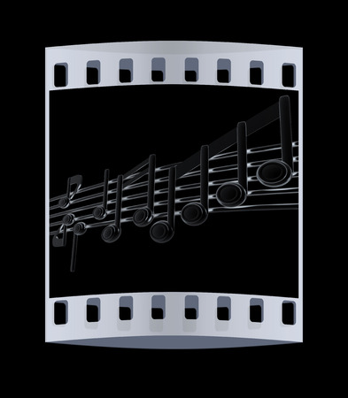 stave: Various music notes on stave. Metall 3d. The film strip Stock Photo