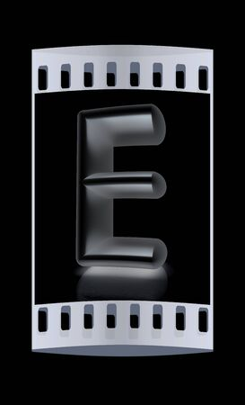 metall: 3D metall letter E isolated on black. The film strip Stock Photo
