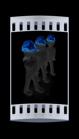 hard hat: 3d mans in a hard hat with thumb up. On a black background. The film strip Stock Photo