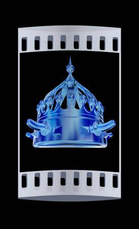 luxuriance: Gold crown isolated on black background. The film strip