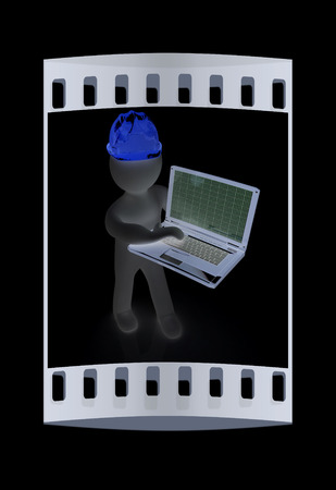 elevation meter: 3D small people - an engineer with the laptop on a black background. The film strip Stock Photo