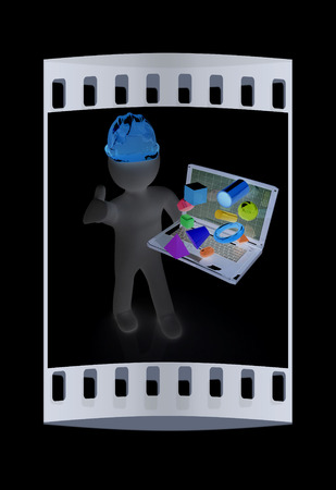 elevation meter: 3D small people - an engineer with the laptop presents 3D capabilities on a black background. The film strip
