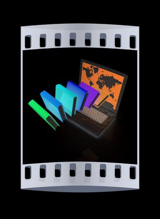 libros volando: Libros coloridos volando y port�til sobre un fondo negro. La tira de pel�cula