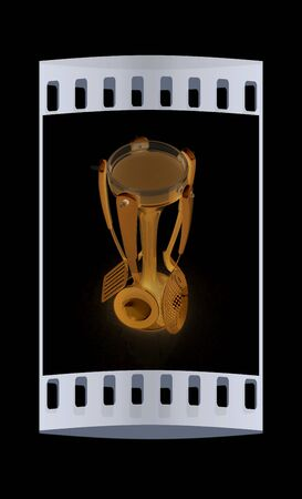 sizzle: cutlery on black background. The film strip