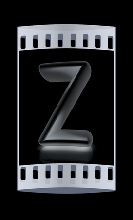 metall: 3D metall letter Z isolated on black. The film strip Stock Photo