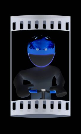 smudgy: 3d man in bicycle helmet on a black background. The film strip