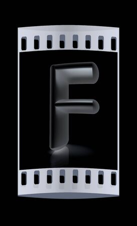 metall: 3D metall letter F isolated on black. The film strip